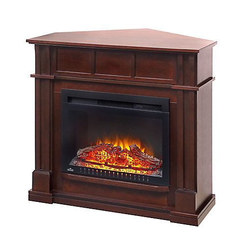 The Bailey Electric Fireplace Mantel Package with 24-inch Cinema Log Set