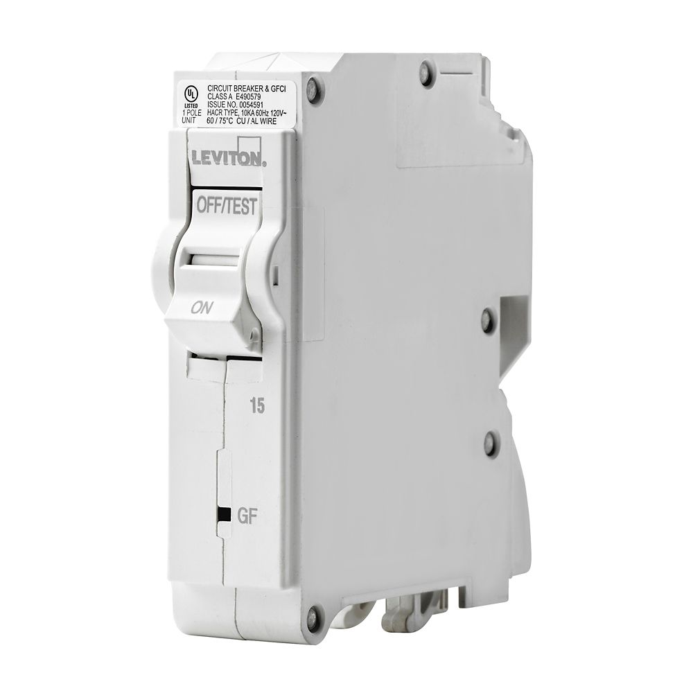1-Pole 15A 120V GFCI Plug-on Circuit Breaker