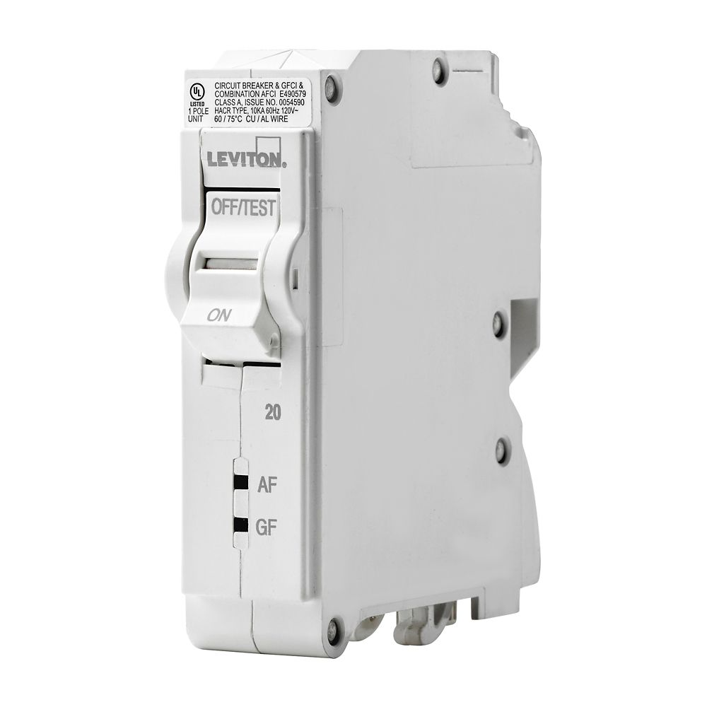 Breakers Breaker Panels Accessories The Home Depot Canada Box Electrical Panel Buy Circuit Panelselectrical Leviton 1 Pole 20a 120v Afci Gfci Plug On