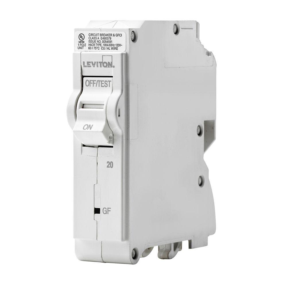 Leviton 1-Pole 20A 120V GFPE Plug-on Circuit Breaker
