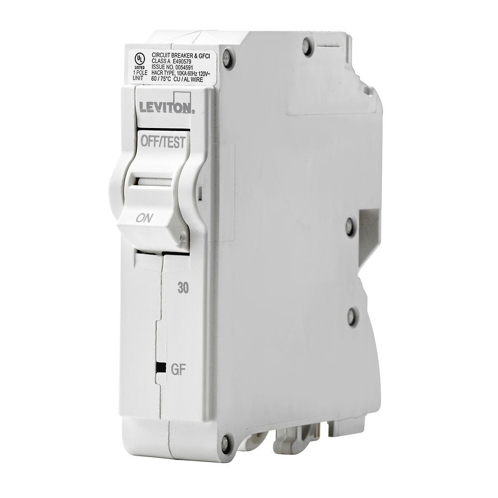 Leviton 1-Pole 30A 120V GFCI Plug-on Circuit Breaker