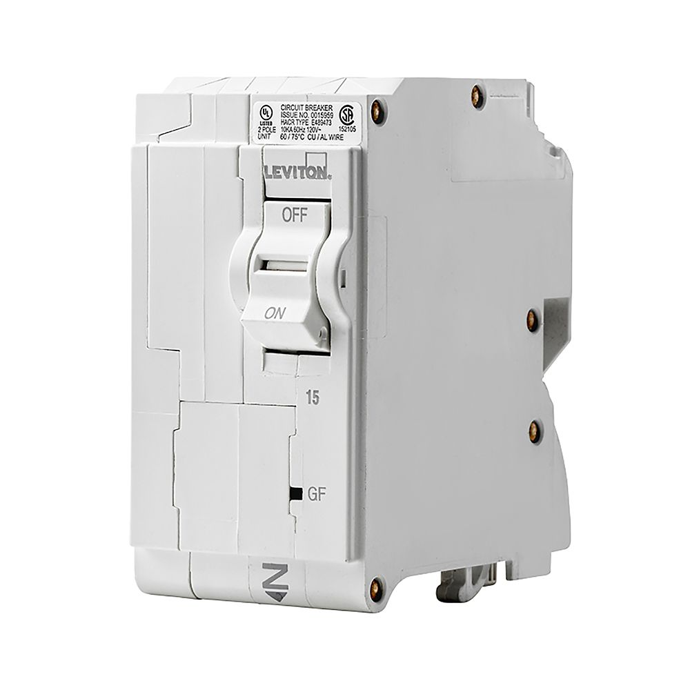 Leviton 2-Pole 15A 120/240V GFPE Plug-on Circuit Breaker