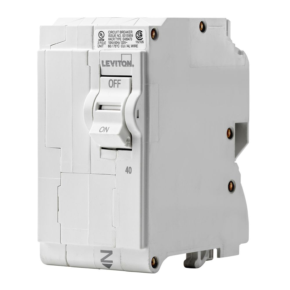 Breakers Breaker Panels Accessories The Home Depot Canada Square D Qo Load Center 200 Amp 3 Phase Wire Diagram Leviton 2 Pole 40a 120 240v Plug On Circuit
