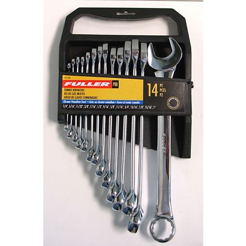 Fuller Pro Series SAE Combination Wrench Set 1/4-inch to 1-inch Sizes (14-Piece)
