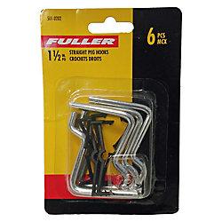 Fuller 1-1/2-inch Straight Pegboard Hooks (6-Piece)