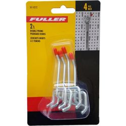 Fuller 2-inch Single Arm Pegboard Hooks with Double Prong Base (4-Piece)