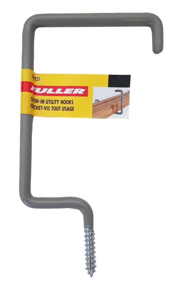 Screw-In Utility Hooks with Protective Vinyl Coating