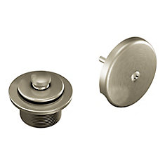 Brushed Nickel Push-N-Lock Tub Drain Kit With 1-1/2 inch Threads