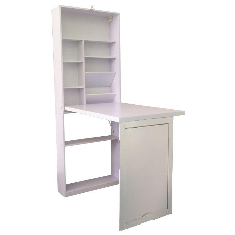 Wall Mount Convertible Desk Craft Writing Laptop Foldable Shelf Table-White
