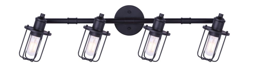 Canarm LADD 4-light matte black track light with steel cage