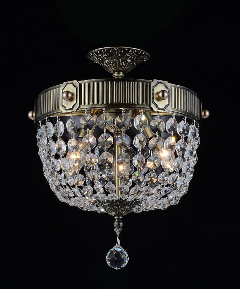 CWI Lighting Brass 13 inch 3 Light Flush Mount with Antique Brass Finish
