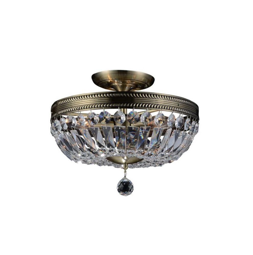 cornelius 18 inch 5 Light Flush Mount with Antique Brass Finish