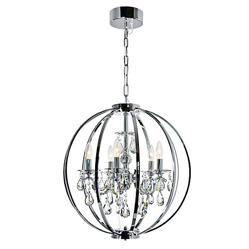 Abia 22 inch 5 Light Chandeliers with Chrome Finish