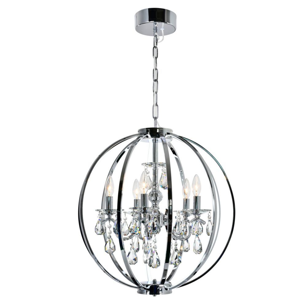 CWI Lighting Abia 22 inch 5 Light Chandeliers with Chrome Finish