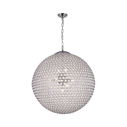 Globe 24 inch 12 Light Chandelier with Chrome Finish