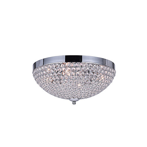 Globe 16 inch 4 Light Flush Mount with Chrome Finish