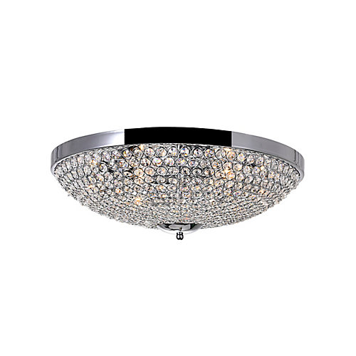 Globe 20 inch 6 Light Flush Mount with Chrome Finish