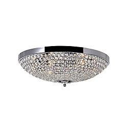 CWI Lighting Globe 20 inch 6 Light Flush Mount with Chrome Finish