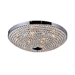 Globe 24 inch 9 Light Flush Mount with Chrome Finish