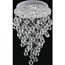 Rain Drop 16 inch 5 Light Flush Mount with Chrome Finish