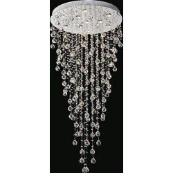 CWI Lighting Rain Drop 28 inch 10 Light Flush Mount with Chrome Finish