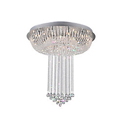 Waterfall 32 inch 20 Light Flush Mount with Chrome Finish