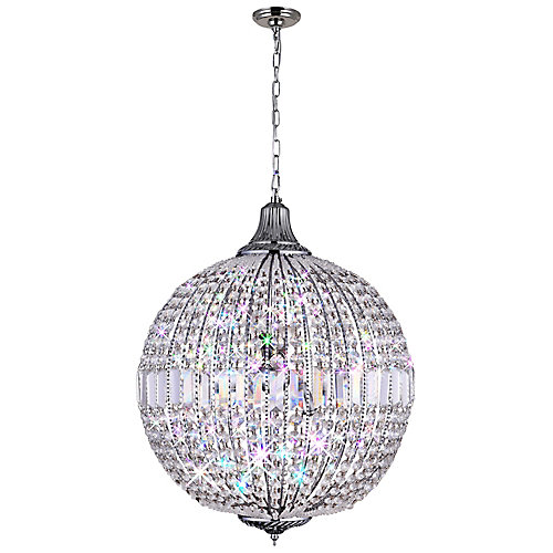 Globe 18 inch 4 Light Chandelier with Chrome Finish