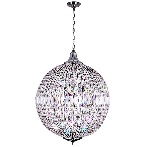 Globe 22 inch 6 Light Chandelier with Chrome Finish