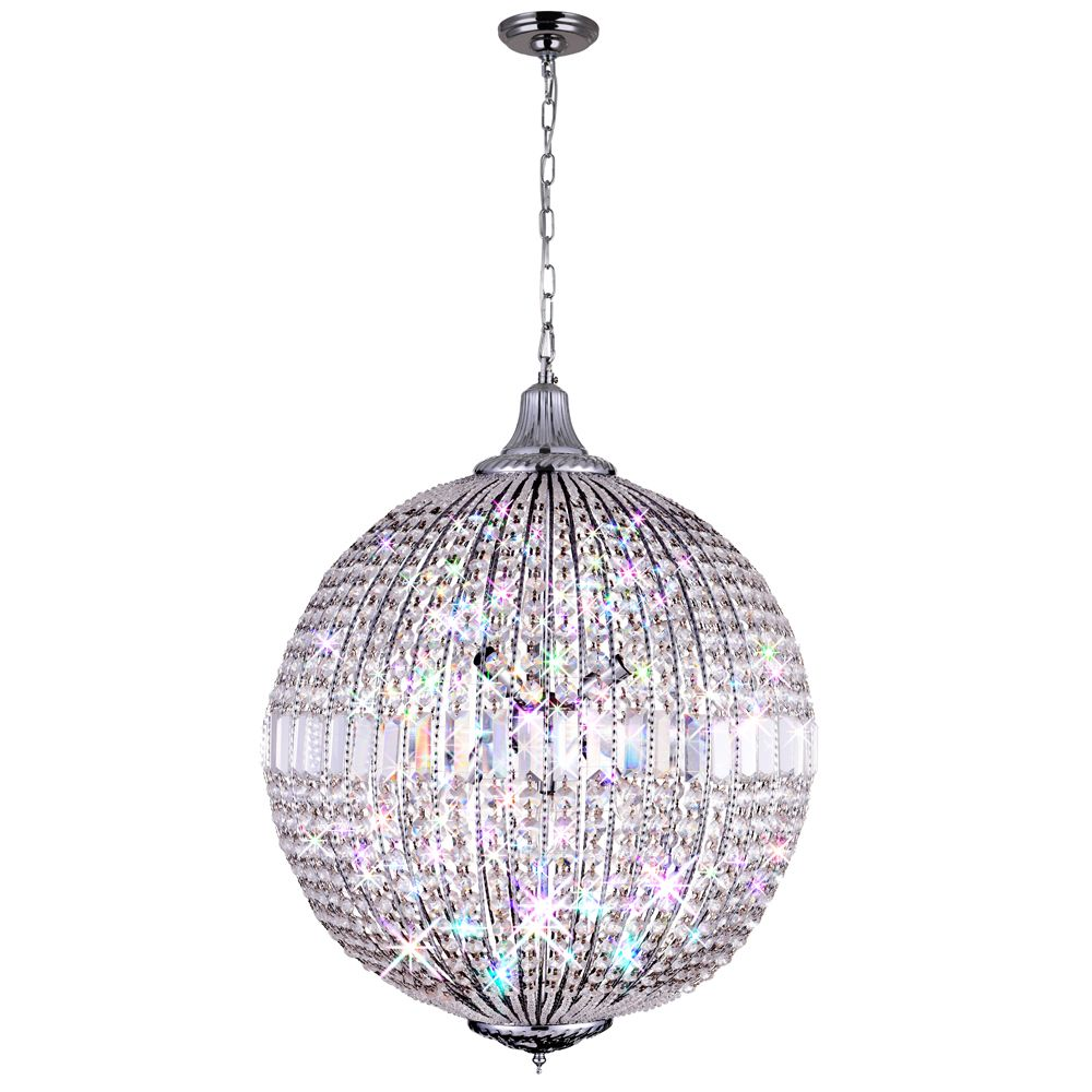 CWI Lighting Globe 22 inch 6 Light Chandelier with Chrome Finish