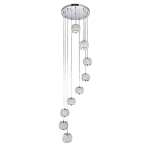 Tiffany 20 inch 9 Light Chandelier with Chrome Finish