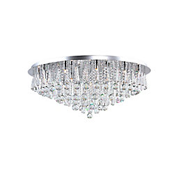 CWI Lighting Brianna 38 inch 21 Light Flush Mount with Chrome Finish