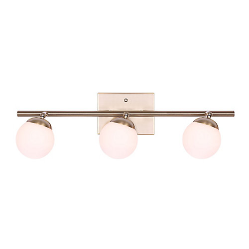 LEYA 3-light gold track light with flat opal glass