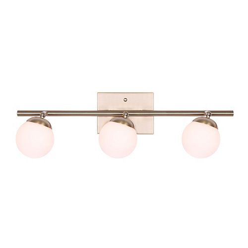 Canarm LEYA 3-light gold track light with flat opal glass