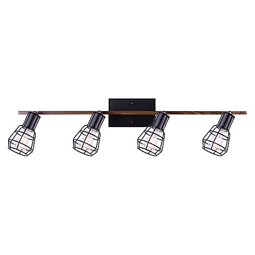 TOMA 4-light matte black & faux wood track light with metal cage