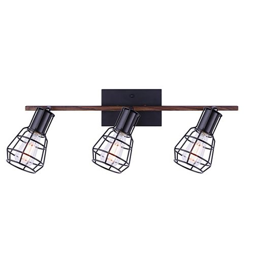 Canarm TOMA 3-light matte black & faux wood track light with metal cage