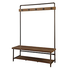 5 Double-Hook Hall Tree with Wooden Bench in Chestnut Finish