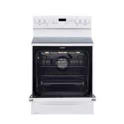 GE Profile 30 inch 1.0 cu. Ft. Double Oven Electric Range with Self Cleaning in White