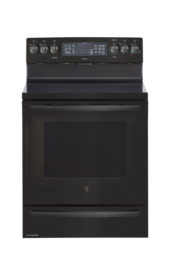 GE Profile 30-inch 1.0 cu. ft. Double Oven Electric Range with Self-Cleaning Convection Oven in Black Stainless Steel