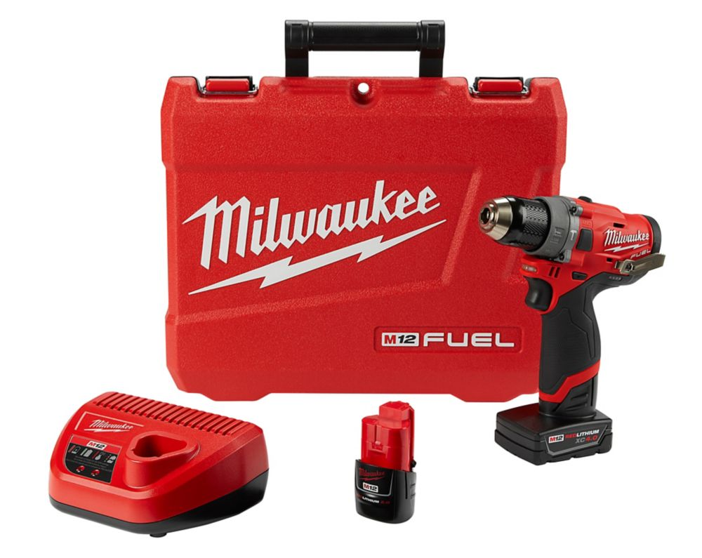 Milwaukee Tool M12 FUEL 12V Li-Ion 1/2-inch Brushless Cordless Hammer Drill Kit with 4.0 Ah & 2.0 Ah Batteries