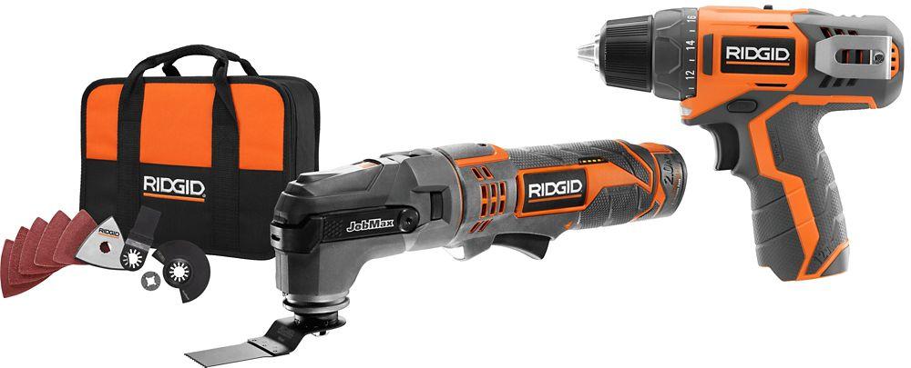 RIDGID 12V Lithium-Ion Cordless Jobmax Multi-Tool Starter Kit w/ 2.0Ah Battery & Bonus Drill