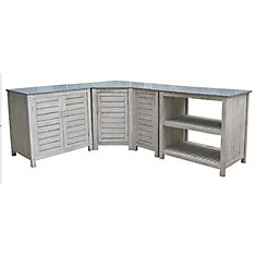 Hayman 4-Piece Brushed Grey Outdoor Kitchen Cupboard Set