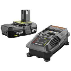 RYOBI 18V ONE+ Lithium-Ion 2.0 Ah Batterie compacte et kit de démarrage du chargeur