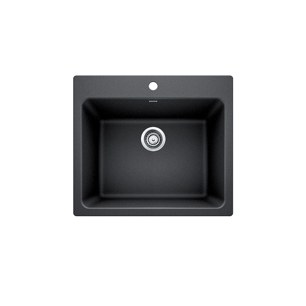 Blanco LIVEN LAUNDRY Sink, 12 inch Deep Single Bowl, Dual-Mount - Anthracite SILGRANIT Granite Composite