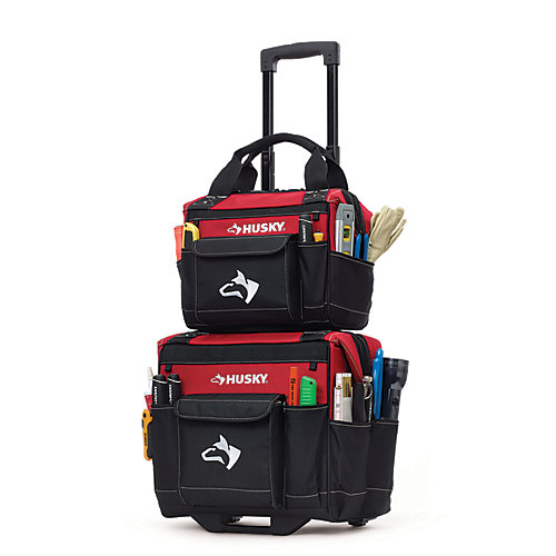 14-inch Rolling Tool Tote with Bonus Bag, Red