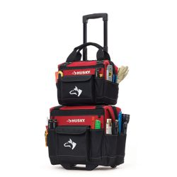 HUSKY 14-inch Rolling Tool Tote with Bonus Bag, Red