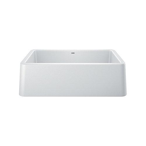 IKON 33 Apron Front Undermount Kitchen Sink, Single Bowl - White SILGRANIT Granite Composite