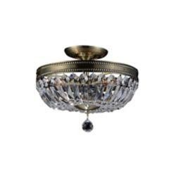 CWI Lighting Cornelius 18 inch 3 Light Flush Mount with Antique Brass Finish