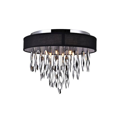 CWI Lighting Excel 19-inch 6 Light Flush Mount with Chrome Finish