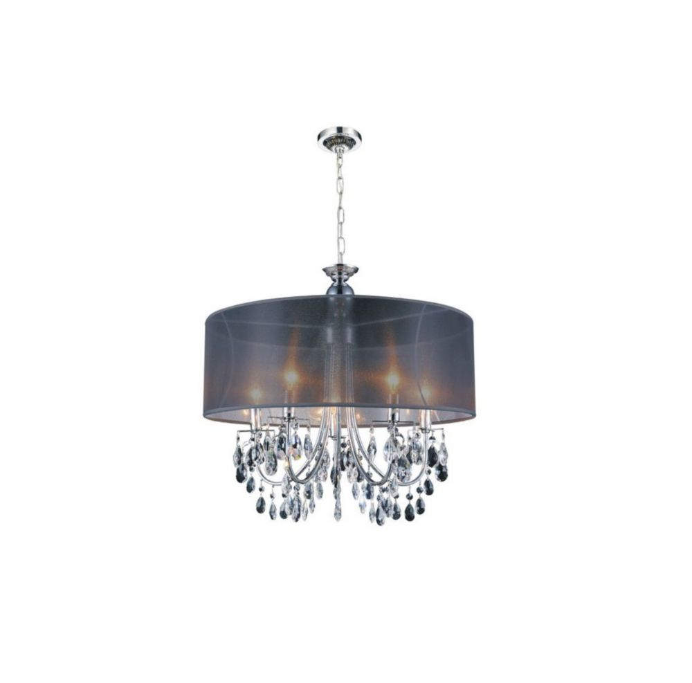 CWI Lighting Halo 22 inches 5 Light Chandelier with Chrome Finish