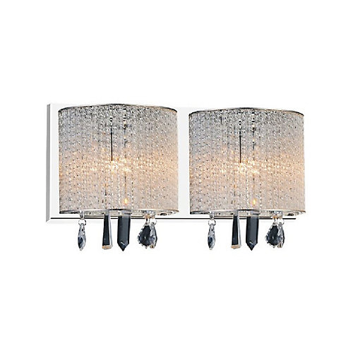 Benson 16 inch 2 Light Wall Sconce with Chrome Finish